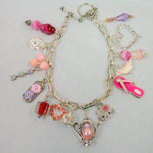 Pretty Silver-tone Dangle Charm Bracelet